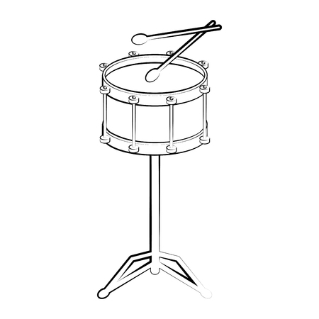 Isolated drum outline. Musical instrument. Vector illustration design