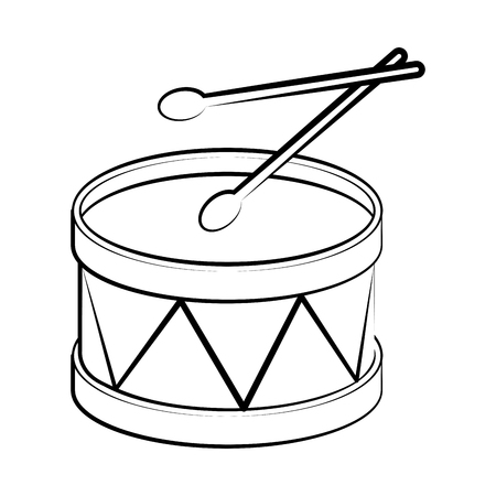 Isolated drum outline. Musical instrument