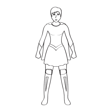 Superwoman cartoon character sketch Illustration