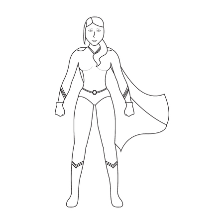 Superwoman cartoon character sketch Illustration