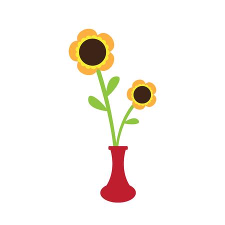 Cute sunflower on a pot. Vector illustration design Illustration