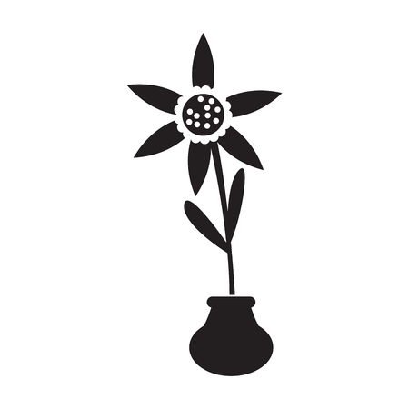 Cute sunflower on a pot silhouette. Vector illustration design