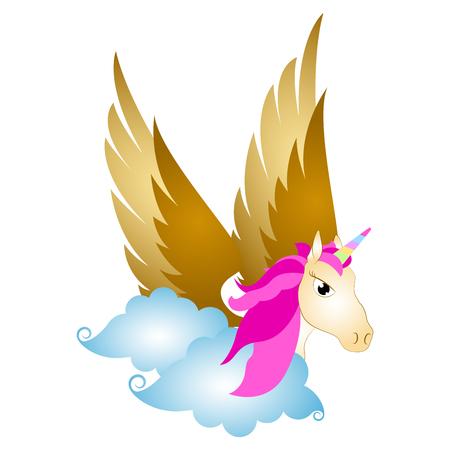 Cute pegasus on clouds. Fantasy creature Illustration