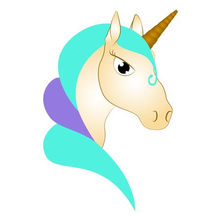 Cute unicorn. Fantasy creature Vector illustration.
