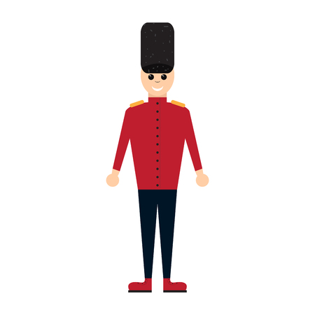 Colored nutcracker soldier toy icon Illustration