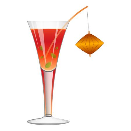 Tropical cocktail drink Çizim