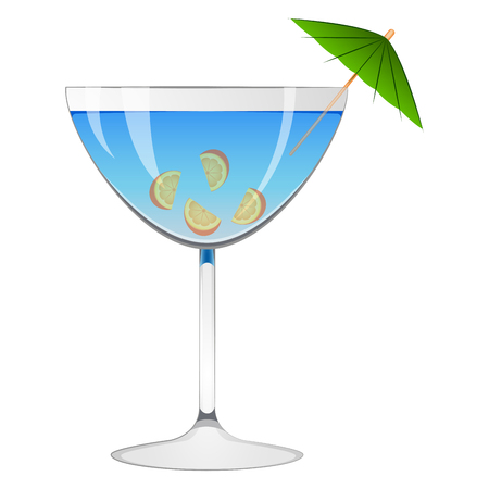 Blue cocktail with an umbrella