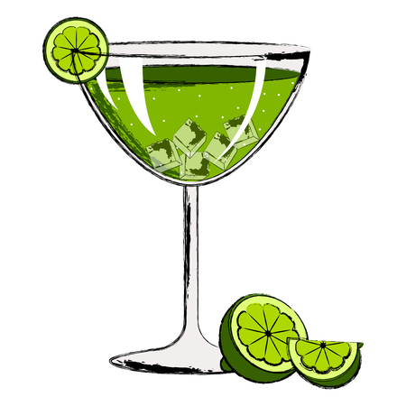 Green cocktail with a lemon slice