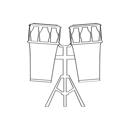 Pair of drums icon, musical instrument illustration.
