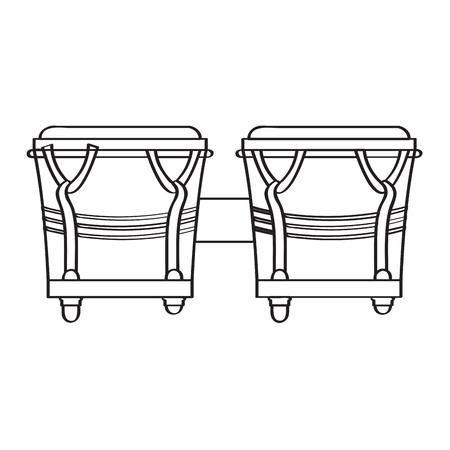 Pair of bongo drums icon, musical instrument illustration.