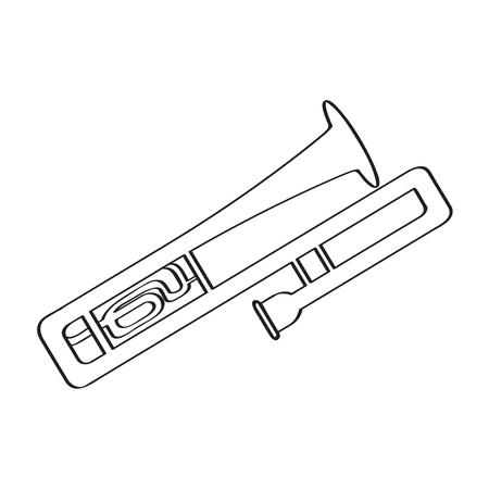 Isolated trombone icon, musical instrument illustration. 向量圖像