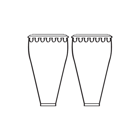 Pair of conga drums. Musical instrument 向量圖像