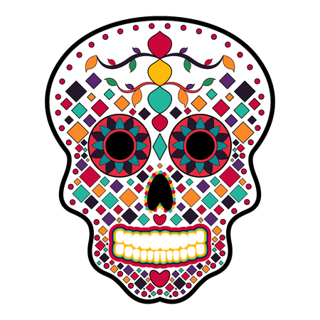 Floral ornament head skull. Day of the dead 矢量图像