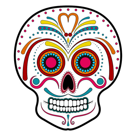 Floral ornament head skull. Day of the dead Stock Illustratie