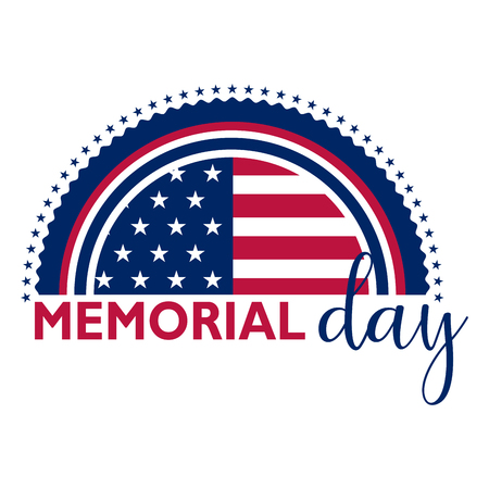 Memorial day banner with US flag and stars