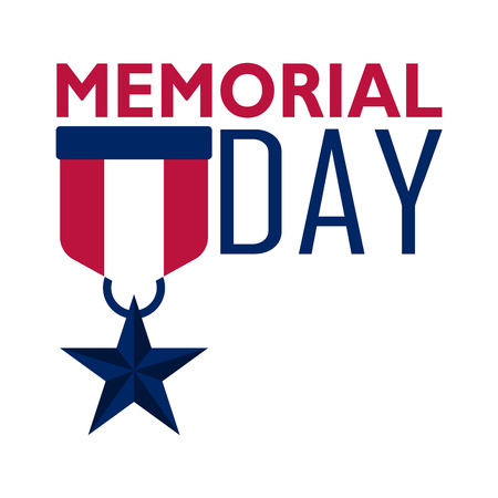 Memorial day banner with star badge Illustration