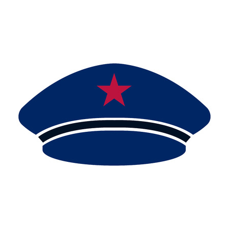 Captain blue beret hat icon Illustration