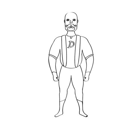 Male superhero cartoon character sketch Stock Photo