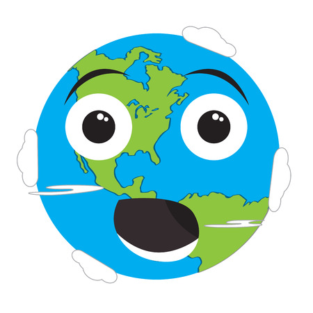 Surprised earth emote. On Earth day Vectores