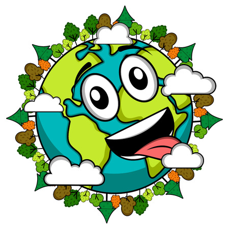 Happy earth emote. Earth day illustration on white background.