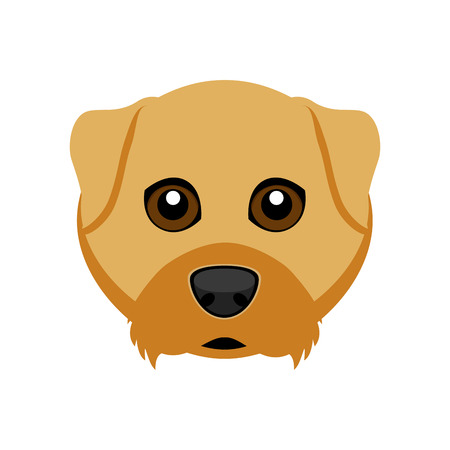 Cute Airedale terrier dog avatar isolated on light background.