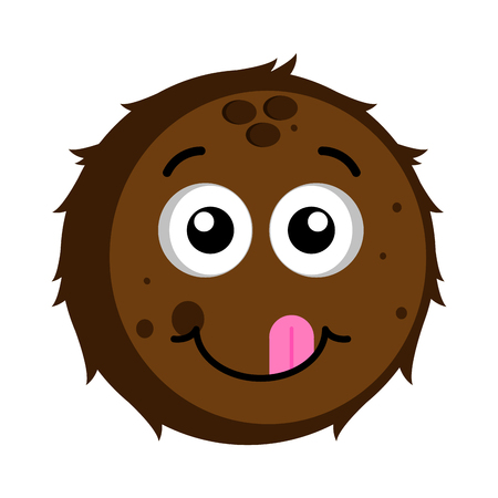 Isolated happy coconut emoticon. Vector illustration design