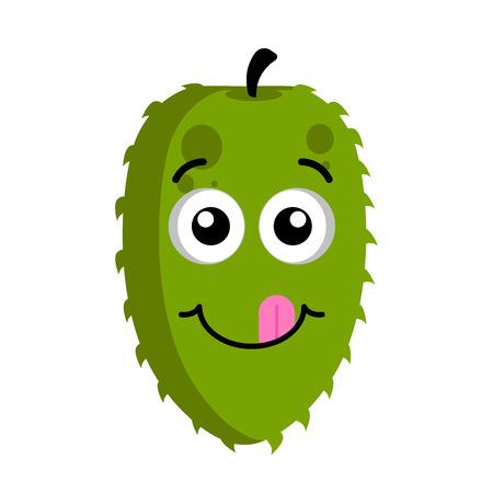Isolated happy soursop emoticon. Vector illustration design