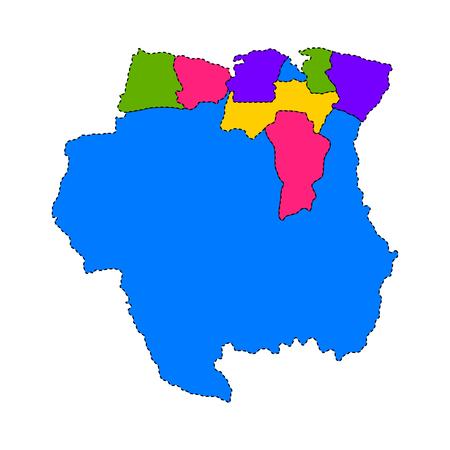 Political map of Suriname. Vector illustration design.