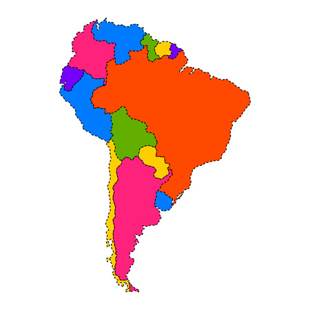 Political map of South America. Vector illustration design.