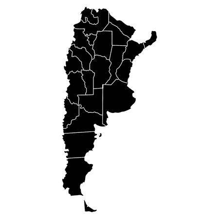 Political map of Argentina in color black Illustration.