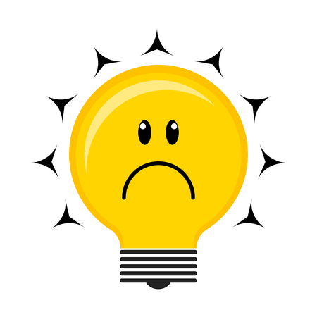 Sad conceptual lightbulb icon Illustration