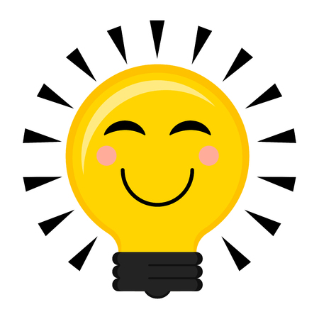 Happy conceptual lightbulb icon