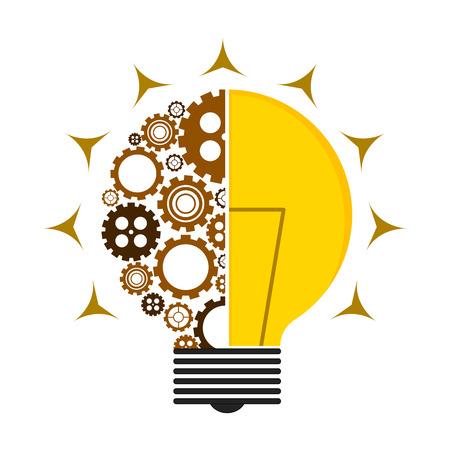 Conceptual lightbulb icon with gear pieces. Vector illustration design