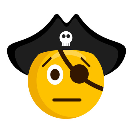 Serious pirate emoji with a hat illustration on white background.