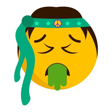 Sick hippie emoji with a bandage illustration on white background.