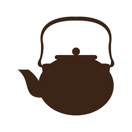Isolated silhouette of a coffee pot. Vettoriali