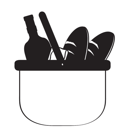 Silhouette of a picnic basket with food and drinks. Vector illustration design.