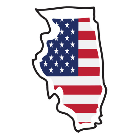 Isolated map of the state of Illinois Illustration