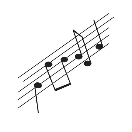 Conjunto de notas musicales en un pentagrama. Diseño de ilustración vectorial