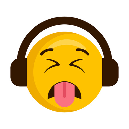 Disgusted emoji with headphones icon