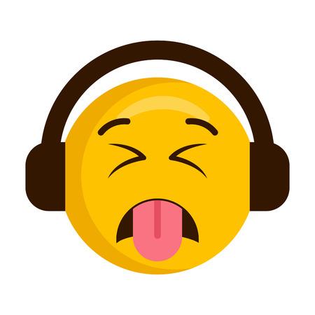 Weerzinwekkende emoji met koptelefoonpictogram Vector Illustratie