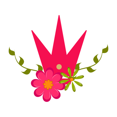 Isolated crown and flower icon