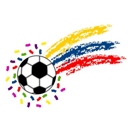 Ballon de football avec le drapeau de la Colombie Vecteurs