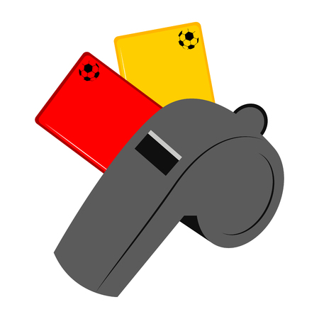 Whistle with a red and yellow card icon Illustration