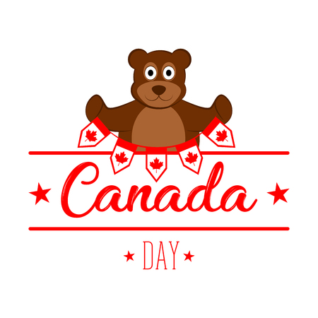 Bear holding banners. Canada day Stock Photo