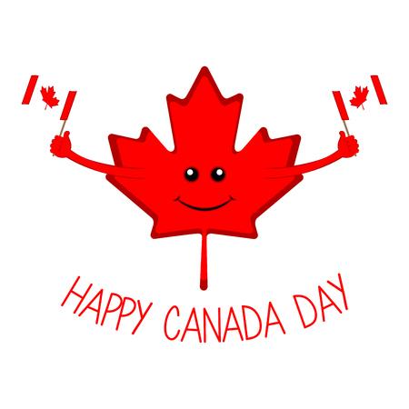 Feuille d'érable tenant des drapeaux. Jour du Canada Vecteurs