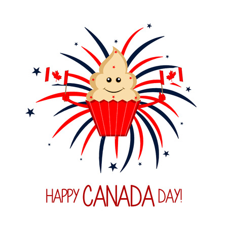Happy cupcake with canadian flags. Canada day