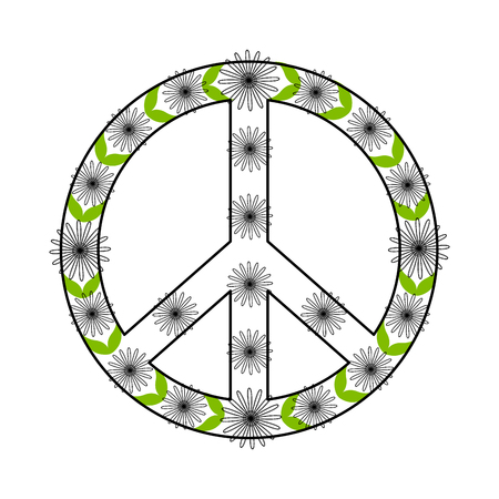 Isolated floral peace symbol