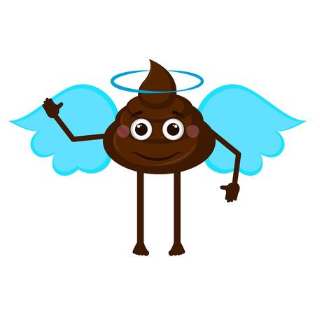 Isolated angel poop emoji. Vector illustration design