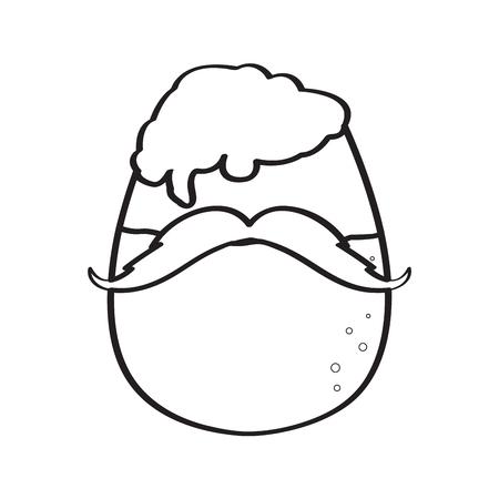 Hipster beer outline Ilustração